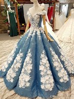 Fascinating Fabulous Ball Gown Prom Quinceanera Dresses Dusty Blue Sparkly Sequins Handmade Flowers Off the Shoulder Bridal Pageant Gowns