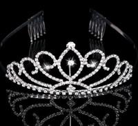 Kızın Çelenkler Rhinestones Kristalleri ile Saç Aksesuarları Akşam Balo Parti Performans Pageant Tiaras ve Taçlar Kızlar Için DB-T015