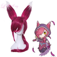 League of Legends LOL Xayah The Rebel Styled Oreilles Perruque Cosplay Rouge Foncé Cheveux