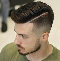 Freies Verschiffen dünne Haut Touch Natur Hair Line Männer Toupet Alle Poly Pu Basis Haar-System für Haarausfall Männer