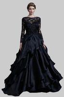2019 neue elegante schwarze soop-ausschnitt bodenlangen abendkleider mit appliques dekoration prom kleid promi kleid vestidos de festa