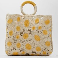 Vintage flower Wool Sweater Lady Shoulder Bag Cotton Woven T...