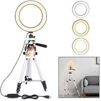 Luce ad anello con supporto per treppiede per video e trucco YouTube, Mini Lampada LED per fotocamera con supporto per telefono cellulare Lampada da tavolo a LED con 3 luci M