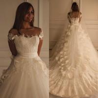 Vintage Lace applique marfim vestidos de casamento frisados 2020 Maison Yeya vestido bonito trem catedral Vintage árabe vestido vestidos de noiva
