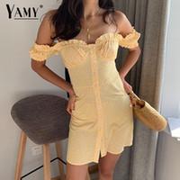 b8f40c6585 2019 Summer Women Dress Elegant Vintage Yellow Floral Off Shoulder Beach  Dress Boho Korean Vestidos Sexy Short Dress Y19051001