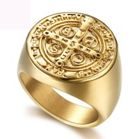 Jesus jóias anéis crucifixo 316L titânio anel de fundição figura anel de ouro cor para homens frete grátis