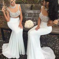 Sexy Blanc 2020 Sirène Robes de soirée perles Backless Plus Size Prom Robe de soirée perlage Wear See Through Maxi robe
