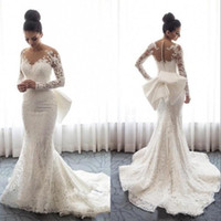 2019 Lace Sirena Vestidos de novia Sheer Mangas largas Apliques Arabe Saudita con tren Agotable Tallas grandes Vestidos nupciales de boda BC0093