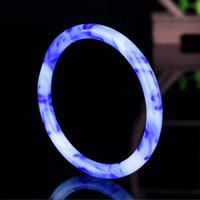 Xinjiang Hotan Círculo de Bellas Color de la pulsera del jade natural Flor flotante azul brazalete de jade pulsera de oro