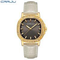 CRRJU 2019 New Fashion Brand Leather Strap Diamond Quartz Diamond Womens Watches Donne Signore Abito orologi femminili Casual orologi in oro casual