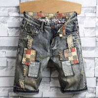 New Fashion Summer Mens Holes Denim Shorts Fashion Men Denim...