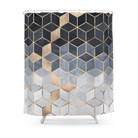 Soft Blue Gradient Cubes Shower Curtain Polyester Fabric Bat...