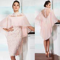 2020 Sexy Mother of the Bride Dresses оболочка высокая шея Sheer Back длина до колен кружева аппликация бисером вечернее платье плюс размер вечерняя одежда