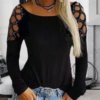 S-5XL Женщины Блузы Sexy выдалбливают Tops Casual O-образным вырезом Хлопок Top Перемычка Пуловер черный с длинным рукавом рубашки Blusas Camisas Mujer