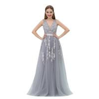 Mb008 v pescoço cinzento tule vestido de baile zíper para cima Vestidos de baile 2019 longos vestidos de baile rendas apliques de acoplamento vestidos de noivado abendkleider