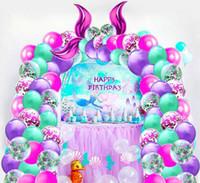 Cauda da sereia Balão definir Toy Kids Under The Sea Tema decoração da festa de aniversário Garland metálico Balão Arch Kit