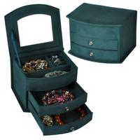 Hot selling jóias caixas de alta qualidade veludo três camadas portátil multi-funcional colar anéis design de moda presentes caixa muito bonita