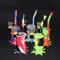 Mini bongs de silicona con cubo de cuarzo banger 10 colores con juegos de vidrio Tubos de agua Bongs irrompibles Burbuja de vidrio Bong