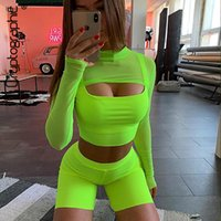 Cryptographic Neon Green Sexy Two Piece Set for Women Fashio...