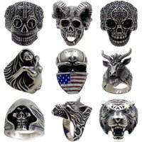 Wholesale Skull Men Ring New Retro Jewelry Skeleton Pattern ...