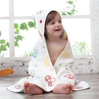 접는 90 * 90cm 어린이 목욕 담요 6 레이어 거즈 통기성 면화 아기 담요 두건과 허리 벨트 편안한 접이식 DH0751