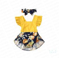 Vestido del mameluco de las muchachas niños con venda del bebé Monos de verano con volantes de las mangas de las ligas del mono de los monos de las vendas dos jugadas E33002