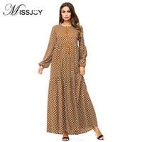MISSJOY 2018 abaya Plus la taille 4XL musulmane robes Dubaï mode femmes à manches longues Polka Dot Imprimer Casual Party en vrac long turc