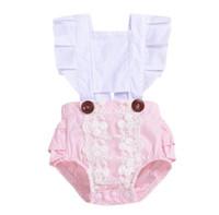 Baby Lace Romber Ins Insant Leleash Flye Pumpsuits 2019 Летняя мода Дети Бутик Одежда Сладкие Рашалки Девушки Onesie C5448