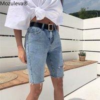 Kadın Şort Mozuleva Rahat Streç Yüksek Bel Mavi Yok Yırtık Denim 2021 Yaz Kadın Cepler Püskül Midi Jeans için