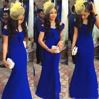 Royal Blue Arabic Kaftan robes de soirée de célébrités 2018 style sirène épaule Plus la taille longue Satin pas cher Simple robes de cocktail