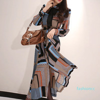 2020 Fashion Work Style Women Comfortable Chiffon Print Long A-line Dress New Arrival Temperament Elegant Beach Party Dress Hot Selli