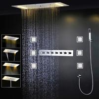 モダンな天井のシャワーセットの高級LEDの滝の雨の蛇口シャワーミキサー4'massageボディジェット