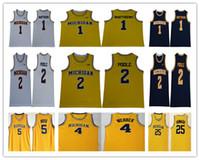 2019 Michigan Wolverines Basketball 1 Charles Matthews 2 Jorda Poole Trikot Herren 5 Jalen Rose 4 Chris Webber 25 Juwan Howard 41 Glen Rice
