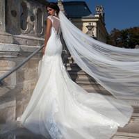 Eleganti veli da sposa con bordo tagliato Cattedrale Lunghezza / 3m / 5m / 10m Super Long Tier Tulle Tulle Bianco / Avorio HotSelling Wedding Veils