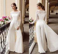 2020 tuta Bohemien in pizzo abiti da sposa gioiello collo maniche lunghe spiaggia abiti da sposa pavimento lunghezza chiffon boho vestido de novi