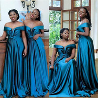 2020 African Ruched Bridesmaid Dresses Plus Size Elastic Sat...