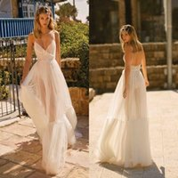 2020 Cheap Berta Lace Appliqued Backless Wedding Dresses V N...
