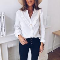 2019 primavera verano volantes blusa mujeres damas casual encaje lunar punto o cuello blanco camisa de manga larga tops blusas hembra # p2