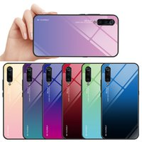 Shockprop 9H Tempered Glass Case For Xiomi 9 Gradient Color Blue Ray Aurora Skin Back Cover