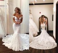 Sexig av axeln Full Lace Mermaid Bröllopsklänningar Vintage Open Back Sweep Train Plus Size Bridal Gown BC2771