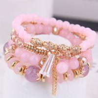 Bohême Bracelet Cristal Perles Bracelets Bracelets Pour Femmes Bijoux Gland Charme Bracelet Femme Multicouche Bracelets Ensembles