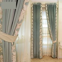 embroidered simple modern high- grade lace curtain Mediterran...