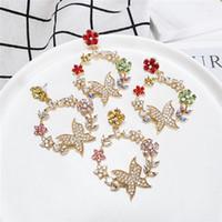 2 par / partia Moda Kwiat Motyl Kolczyki Dla Kobiet Wieniec Kolorowe Kolczyki Kryształowe Hoop Party Dangle Kolczyki Biżuteria