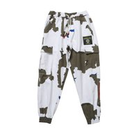 Mens Ins Hot Sell Casual Cargo Pants Camouflage Loose Fashion Capris Pants Male Seasons Hip Hop Clothing