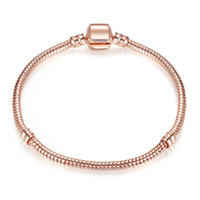 1 unids envío de gota pulseras de oro rosa mujeres de la cadena de serpientes de la cadena de las cuentas para Pandora Bangle Pulsera Niños Regalo B019