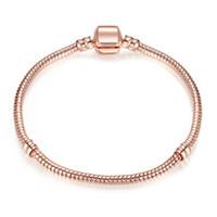 1 STÜCKE Drop Shipping Rose Gold Armbänder Frauen Schlangenkette Charme Perlen Für Pandora Bangle Armband Kinder Geschenk B019