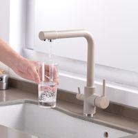 الكروم / أسود / W النحاس النقي مطبخ صنبور المياه المزدوج التعامل مع الساخنة والباردة مياه الشرب 2-طريقة تصفية خلاط المطبخ الحنفيات