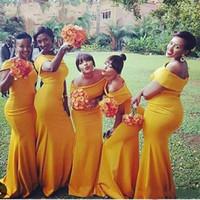 Дешевые Южноафриканские нигерийские русалка невесты платья с плечами длиной до пола горничная натуральные платья для свадьбы на заказ
