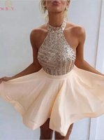 Sexy Halter Cocktail Dresses Champagne Sleeveless A Line ves...