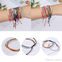 Böhmische bunte Glassamenperlen Armband 3 Schicht Boho gemischt Trilaminar Braid Armband für Frauen Mädchen mit Freundschaftskarte Schmuck Geschenke